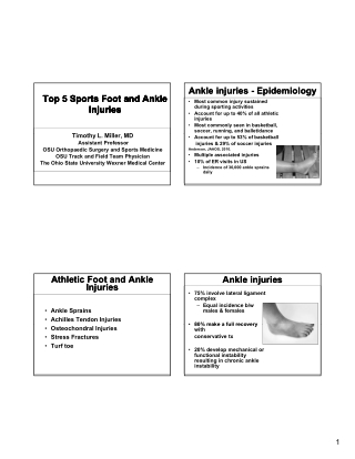 Ankle injuries - Epidemiology Ankle injuries - Epidemiology Top 5 Sports Foot and Ankle Top 5 Sports Foot and Ankle Injuries Injuries Injuries Injuries Top 5 Sports Foot and Ankle Top 5 Sports