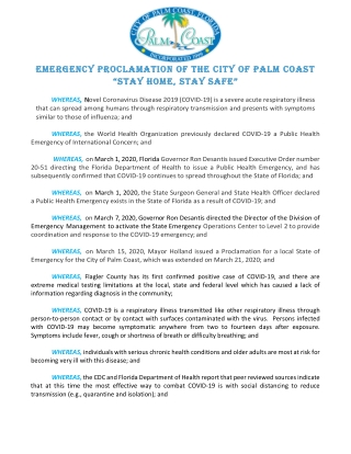 "EMERGENCY PROCLAMATION OF THE CITY OF PALM COAST ""STAY HOME ""STAY HOME"