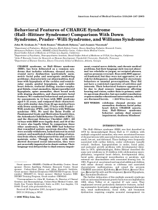 Behavioral Features of CHARGE Syndrome (Hall–Hittner Syndrome) Comparison With Down Syndrome, Prader–Willi Syndrome, and Williams Syndrome