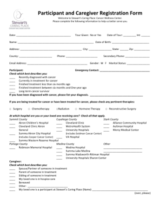 Participant and Caregiver Registration Form
