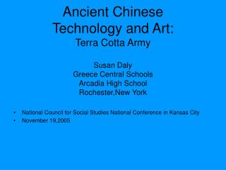 Old Chinese Innovation and Craftsmanship: Earthenware Armed force Susan Daly Greece Focal Schools Shangri-la Secondary S