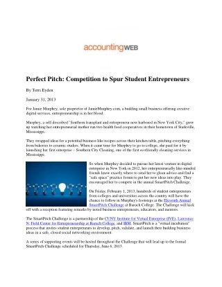 Perfect Pitch: Competition to Spur Student Entrepreneurs