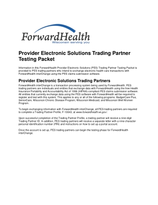 Provider Electronic Solutions Trading Partner Testing Packet