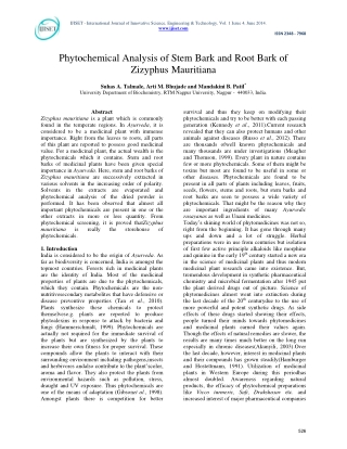 Phytochemical Analysis of Stem Bark and Root Bark of Zizyphus Mauritiana