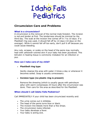 Circumcision Care and Problems