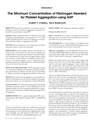 The Minimum Concentration of Fibrinogen Needed for Platelet Aggregation using ADP