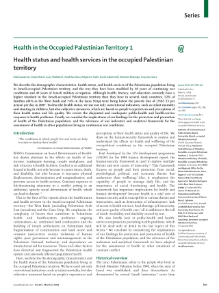 Series Health in the Occupied Palestinian Territory 1 Health status and health services in the occupied Palestinian territory