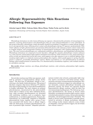 Allergic Hypersensitivity Skin Reactions Following Sun Exposure