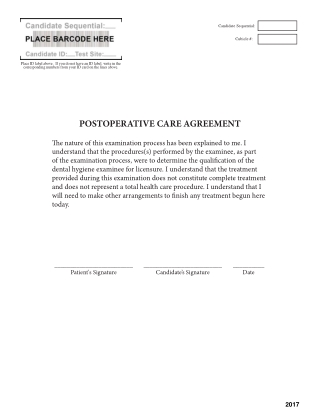 POSTOPERATIVE CARE AGREEMENT