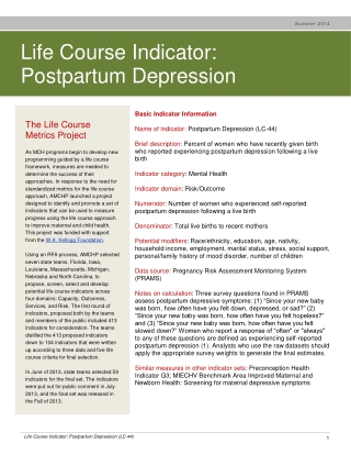 Life Course Indicator: Postpartum Depression