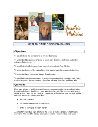 HEALTH CARE DECISION-MAKING