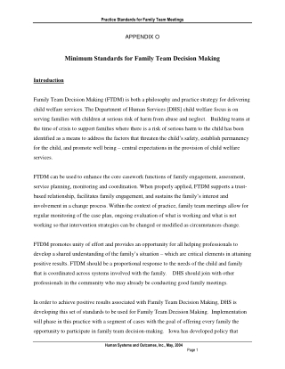 Minimum Standards for Family Team Decision Making