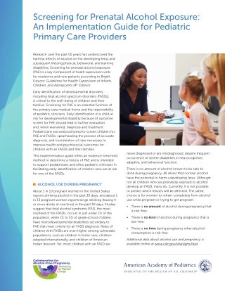 Screening for Prenatal Alcohol Exposure: An Implementation Guide for Pediatric Primary Care Providers