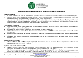 Notes on Prescribing Medications for Rheumatic Diseases in Pregnancy