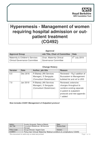 Hyperemesis - Management of women requiring hospital admission or out- patient treatment (CG492)