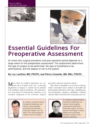 Essential Guidelines For Preoperative Assessment