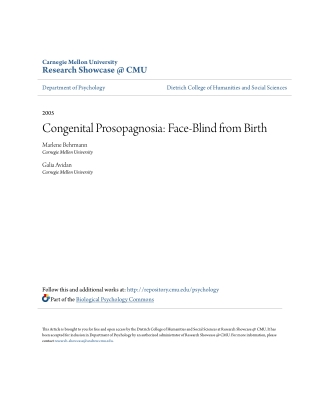Congenital Prosopagnosia: Face-Blind from Birth