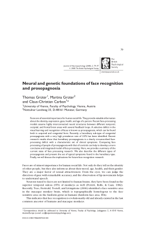 Neural and genetic foundations of face recognition and prosopagnosia