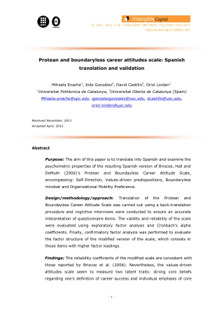 Protean and boundaryless career attitudes scale: Spanish translation and validation