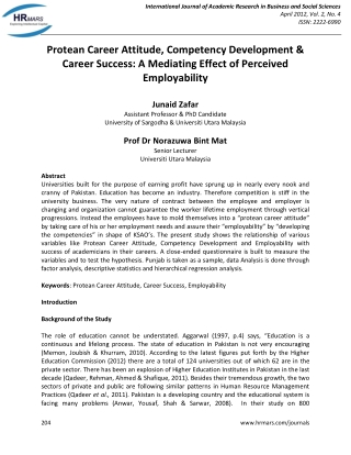 Protean Career Attitude, Competency Development & Career Success: A Mediating Effect of Perceived Employability