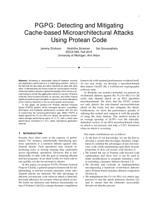 PGPG: Detecting and Mitigating Cache-based Microarchitectural Attacks Using Protean Code