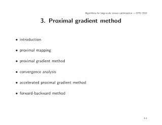 3. Proximal gradient method