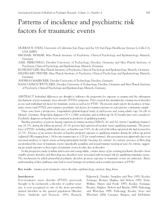 Patterns of incidence and psychiatric risk factors for traumatic events