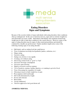Eating Disorders Signs and Symptoms