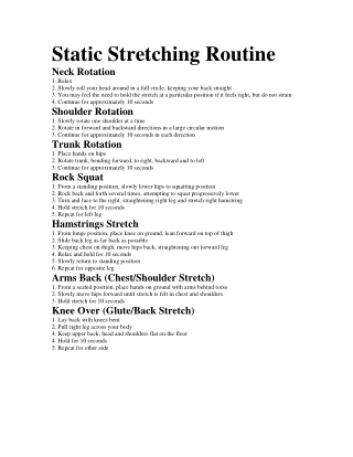 Static Stretching Routine