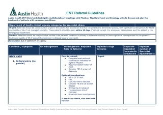 ENT ENT Referral Guidelines Referral Guidelines