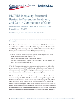 HIV/AIDS Inequality: Structural Barriers to Prevention, Treatment, and Care in Communities of Color