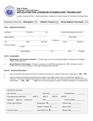 APPLICATION FOR LICENSURE IN RADIOLOGIC TECHNOLOGY