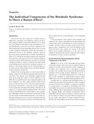 The Individual Components of the Metabolic Syndrome: Is There a Raison d'Etre?