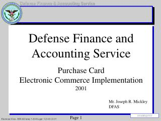 Guard Finance and Accounting Service Purchase Card Electronic Commerce Implementation 2001