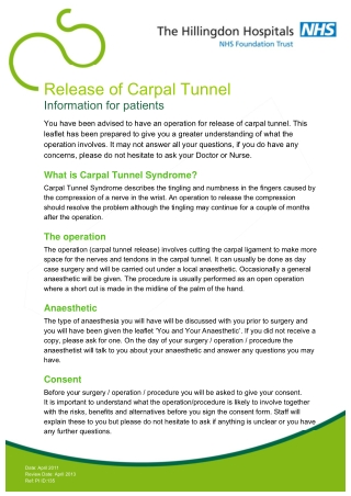 Release of Carpal Tunnel