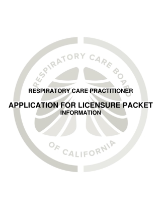 APPLICATION FOR LICENSURE PACKET