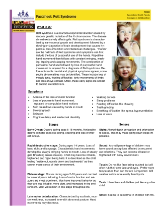 Factsheet: Rett Syndrome Factsheet: Rett Syndrome