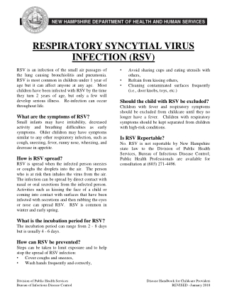 RESPIRATORY SYNCYTIAL VIRUS INFECTION (RSV)