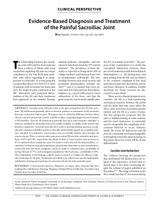 Evidence-Based Diagnosis and Treatment of the Painful Sacroiliac Joint