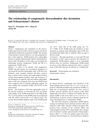 The relationship of symptomatic thoracolumbar disc herniation and Scheuermann's disease