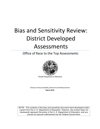 Bias and Sensitivity Review: District Developed Assessments