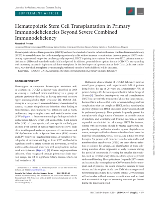 Hematopoietic Stem Cell Transplantation in Primary Immunodeficiencies Beyond Severe Combined Immunodeficiency