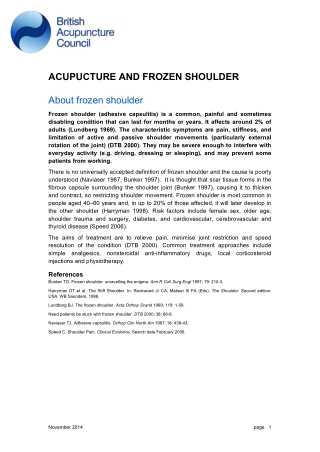 ACUPUCTURE AND FROZEN SHOULDER