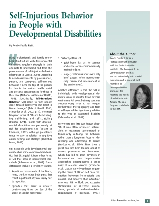 Self-Injurious Behavior in People withDevelopmental Disabilities