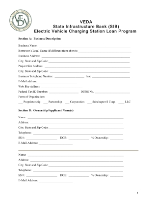 VE VEDA DA State Infrastructure Bank State Infrastructure Bank (SIB) Electric Vehicle Charging Station Electric Vehicle Charging Station Loan Program (SIB) Loan Program
