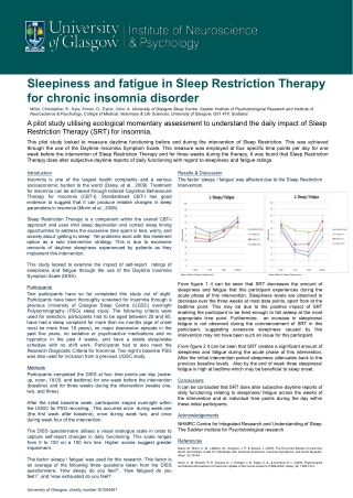 Sleepiness and fatigue in Sleep Restriction Therapy for chronic insomnia disorder