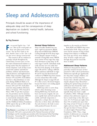 Sleep and Adolescents