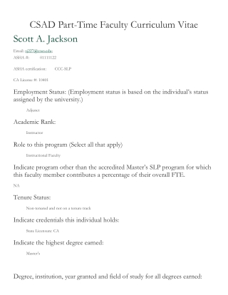 CSAD Part-Time Faculty Curriculum Vitae Scott A. Jackson