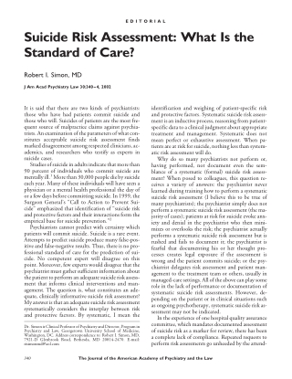 Suicide Risk Assessment: What Is the Standard of Care?