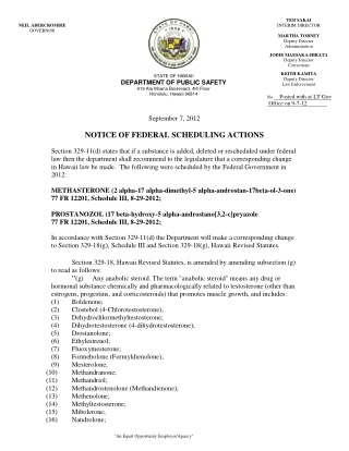NOTICE OF FEDERAL SCHEDULING ACTIONS